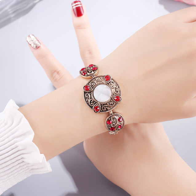 French Loops White & Red Traditional Ethnic Stone Bracelet For Women & Girls