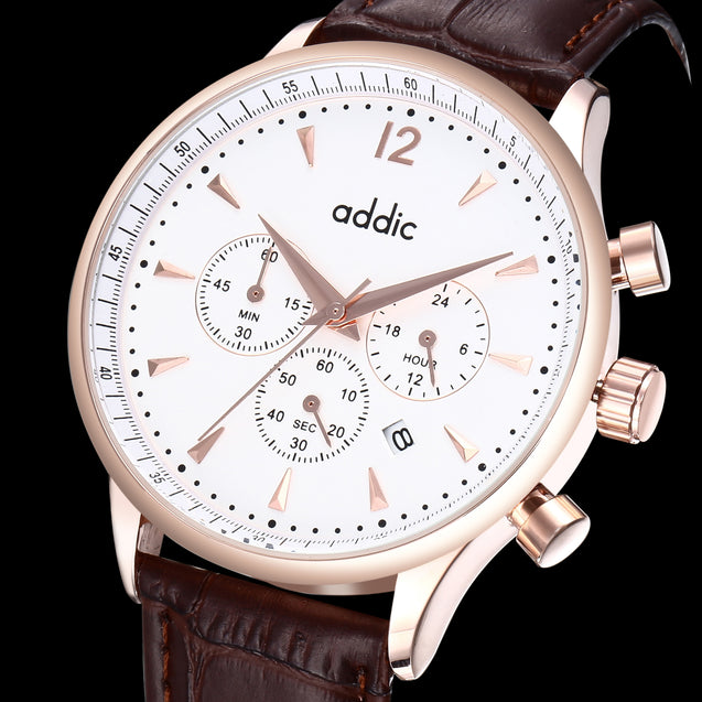 Addic His Majesty's Pride Rose Gold Chronometer Watch - Brown