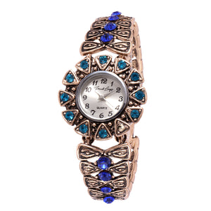 French Loops Last Love Jewel Studded Blue Ethnic Party Wear Bracelet Watch