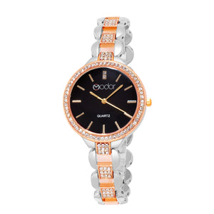 Modor Modern Classy Rose Gold & Silver Wrist Watch For Women & Girls