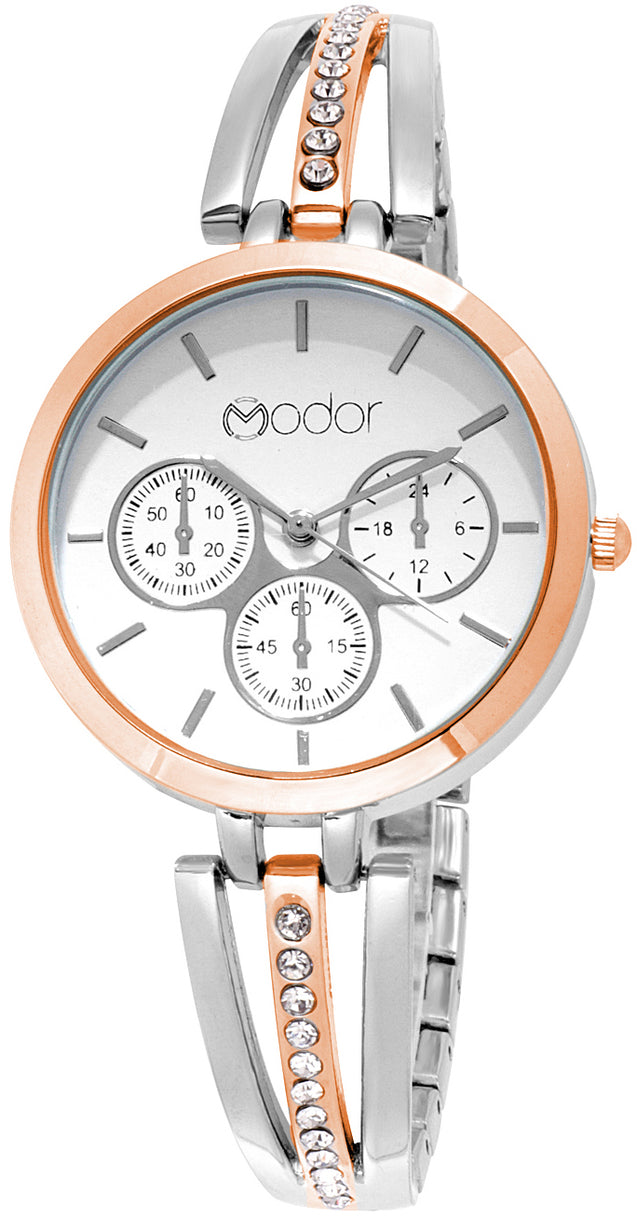 Modor Diva's Choice Rose Gold & Silver Wrist Watch For Women & Girls