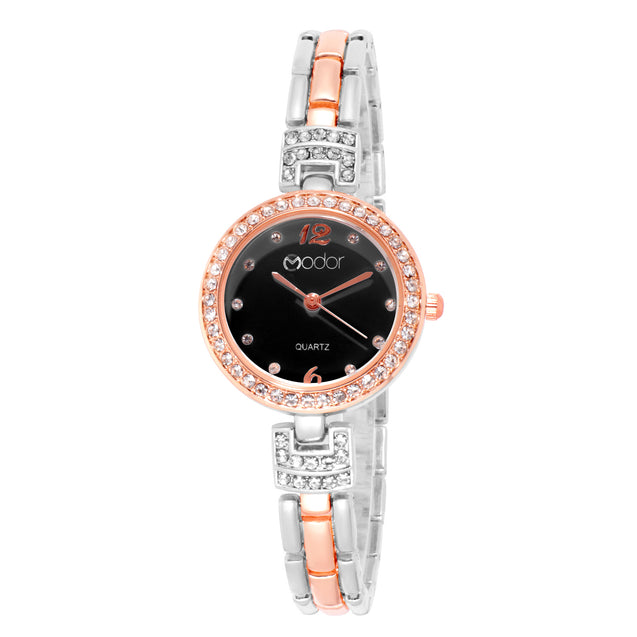 Modor Chunks Of Charm Dual Color  Black Dial Wrist Watch For Women & Girls