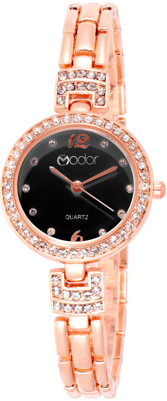 Modor Chunks Of Charm Rose Gold Black Wrist Watch For Women & Girls