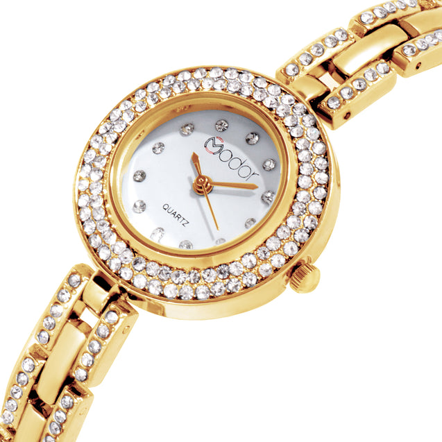 Modor Royal Elegance Gold White Wrist Watch For Women & Girls
