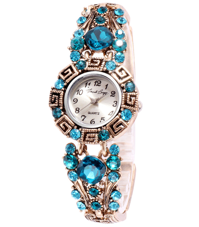 French Loops Bold Blue Jewel Studded Ethnic Party Wear Bracelet Watch