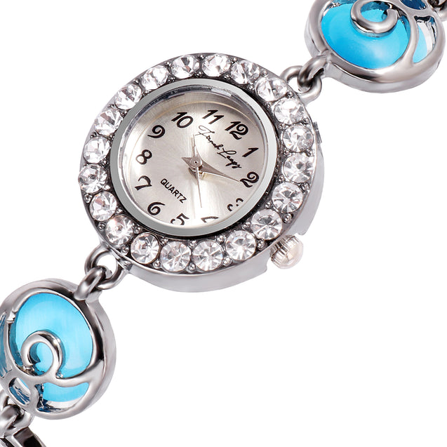 French Loops Peppy Blue Jewel Studded Ethnic Party Wear Bracelet Watch