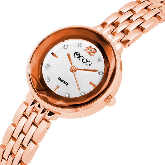 Modor Bling It On Rose Gold Studded Chain Watch For Women & Girls