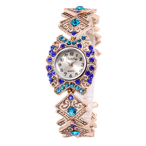 French Loops Swarm of Blues Jewel Studded Ethnic Party Wear Bracelet Watch