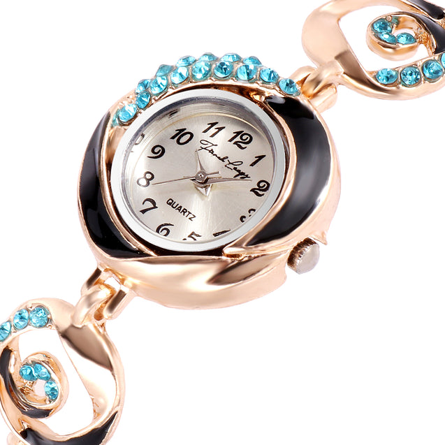 French Loops Oriental Princess Blue Jewel Studded Analogue Bracelet Watch For Women