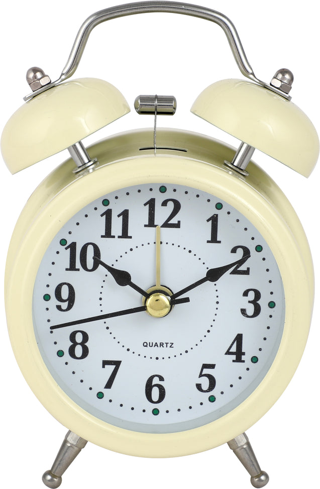 Addic Retro Ringer Classic Off White Table Clock With Alarm (Alarm Clock For Bedside, Study Table, Home Decor & Gifts)