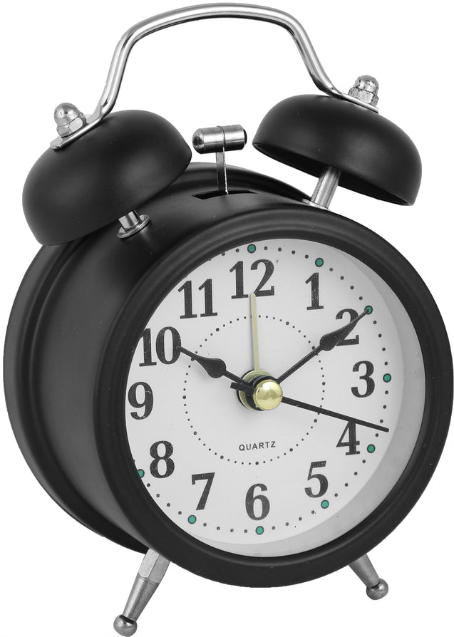 Addic Retro Ringer Classic Black Table Clock With Alarm (Alarm Clock For Bedside, Study Table, Home Decor & Gifts)