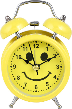 Addic Sunshine Positive Vibes Smiley Table Clock With Alarm (Alarm Clock For Bedside, Study Table, Home Decor & Gifts)