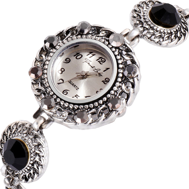 French Loops Tribal Hues Black Stone Studded Ethnic Party Wear Bracelet Watch