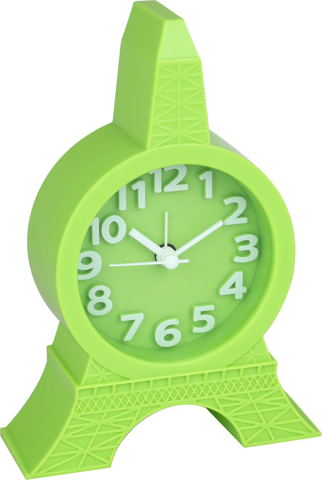 Addic Eiffel Tower Peppy Green Table Clock With Alarm (Alarm Clock For Bedside, Study Table, Home Decor & Gifts)