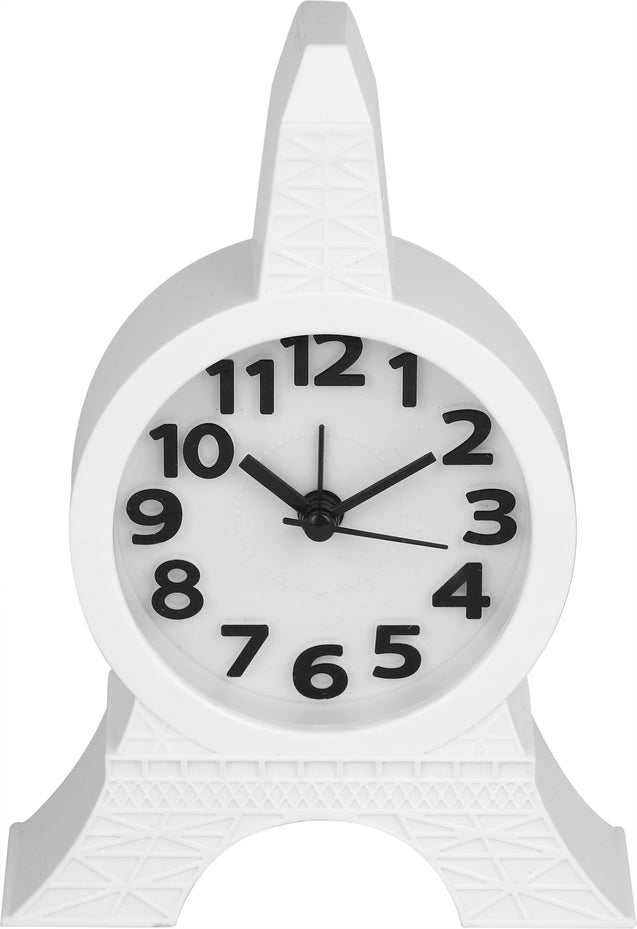 Addic Eiffel Tower Polished White Table Clock With Alarm (Alarm Clock For Bedside, Study Table, Home Decor & Gifts)