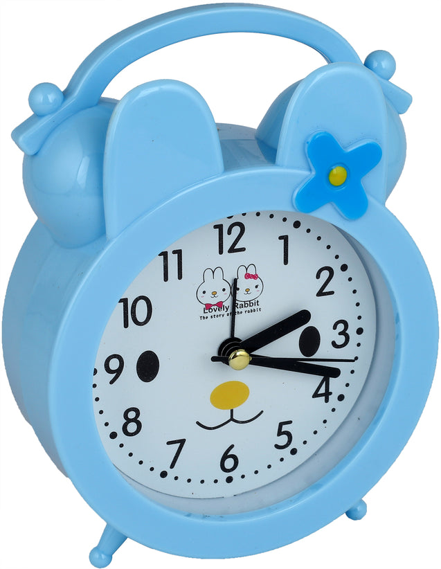 Addic Lovely Rabbit Bed Time Stories Sky Blue Table Clock With Alarm (Alarm Clock For Bedside, Study Table, Home Decor & Gifts)