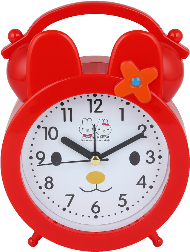 Addic Lovely Rabbit Bed Time Stories Red Table Clock With Alarm (Alarm Clock For Bedside, Study Table, Home Decor & Gifts)