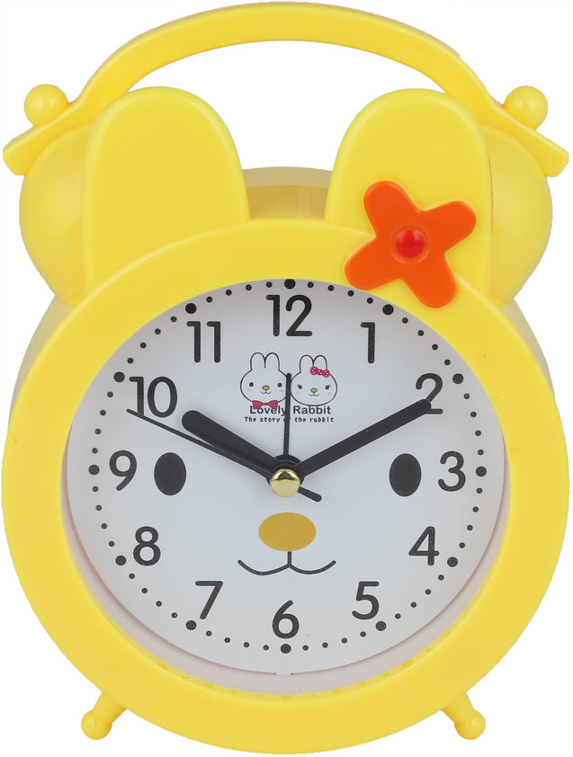 Addic Lovely Rabbit Bed Time Stories Yellow Table Clock With Alarm (Alarm Clock For Bedside, Study Table, Home Decor & Gifts)
