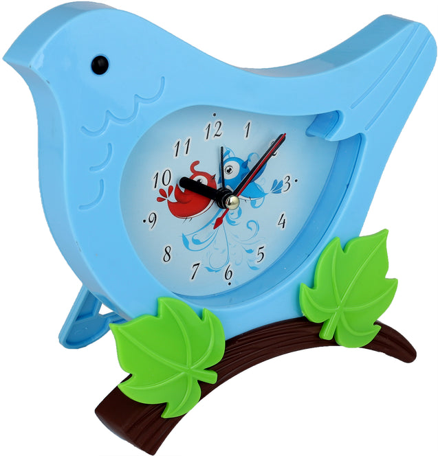 Addic Cute Birdie In The Bush Blue Table Clock With Alarm (Alarm Clock For Bedside, Study Table, Home Decor & Gifts)
