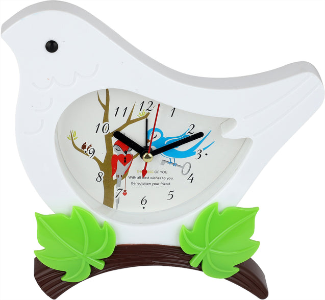 Addic Cute Birdie In The Bush White Table Clock With Alarm (Alarm Clock For Bedside, Study Table, Home Decor & Gifts)