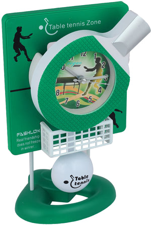 Addic Table Tennis Fun Working Pendulum Green Table Clock With Alarm (Pendulum Alarm Clock For Bedside, Study Table, Home Decor & Gifts)