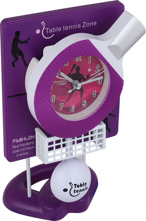 Addic Table Tennis Fun Working Pendulum Purple Table Clock With Alarm (Pendulum Alarm Clock For Bedside, Study Table, Home Decor & Gifts)