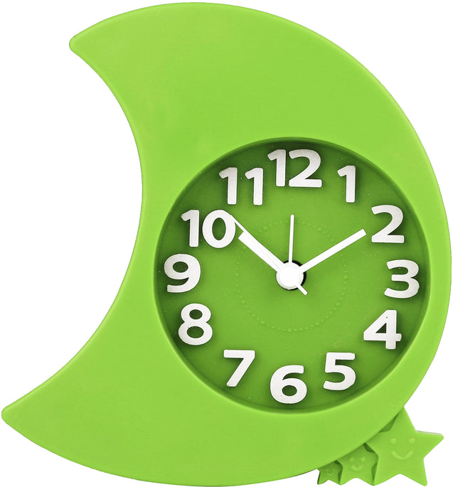 Addic Moon & Stars Green Table Clock With Alarm (Alarm Clock For Bedside, Study Table, Home Decor & Gifts)