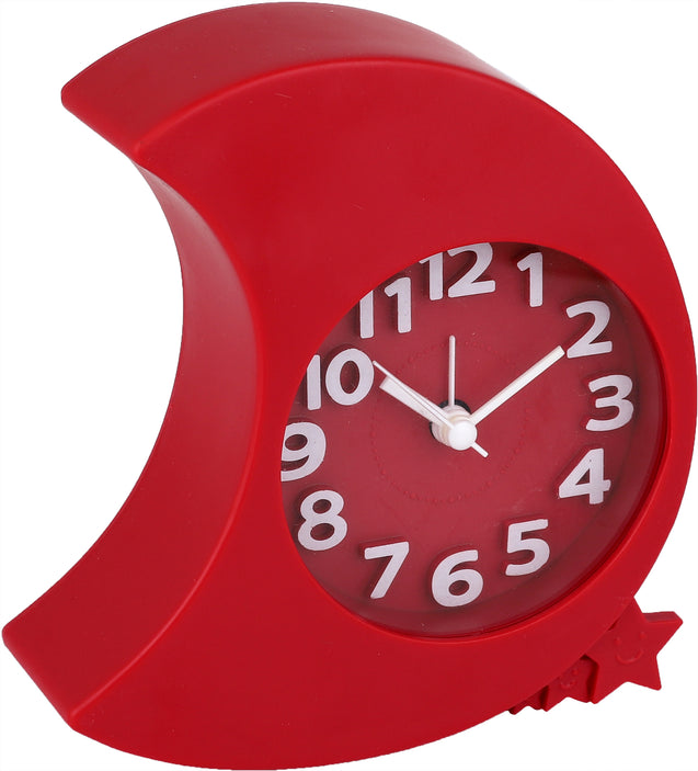 Addic Moon & Stars Apple Red Table Clock With Alarm (Alarm Clock For Bedside, Study Table, Home Decor & Gifts)