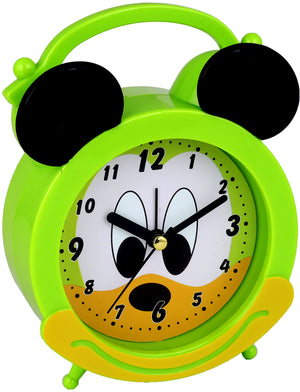 Addic Joyful Mouse Cute Green Table Clock With Alarm (Alarm Clock For Bedside, Study Table, Home Decor & Gifts)