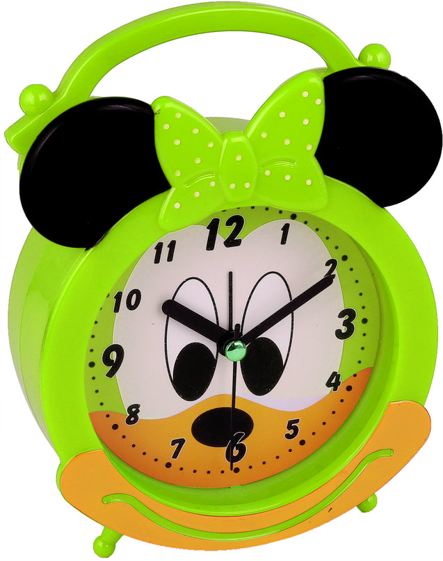 Addic Happy Mouse Cute Green Table Clock With Alarm (Alarm Clock For Bedside, Study Table, Home Decor & Gifts)