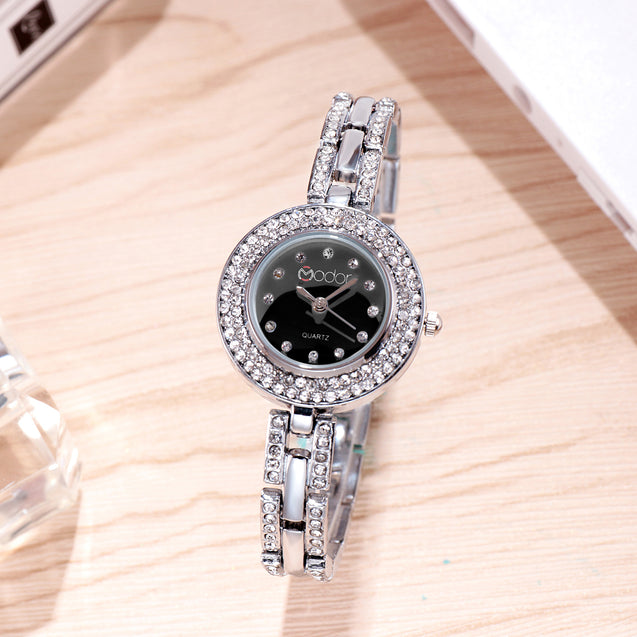 Modor Royal Elegance Silver Black Wrist Watch For Women & Girls