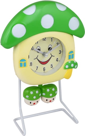 Addic Smiling Mushroom Happy Vibes Green Table Clock  (Alarm Clock For Bedside, Study Table, Home Decor & Gifts)