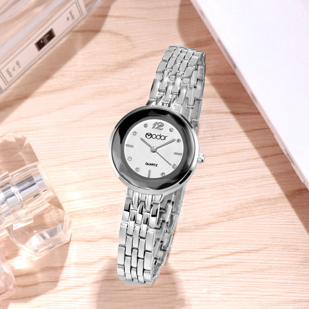 Modor Bling It On Silver Studded Chain Watch For Women & Girls