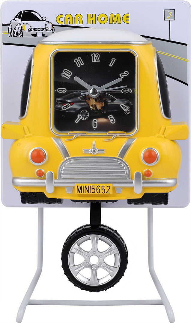 Addic Retro Taxi Cab Working Tyre Pendulum Yellow Table Clock With Alarm (Pendulum Alarm Clock For Bedside, Study Table, Home Decor & Gifts)