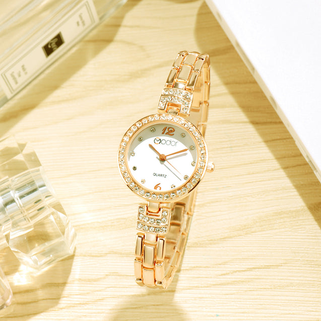 Modor Chunks Of Charm Gold Wrist Watch For Women & Girls