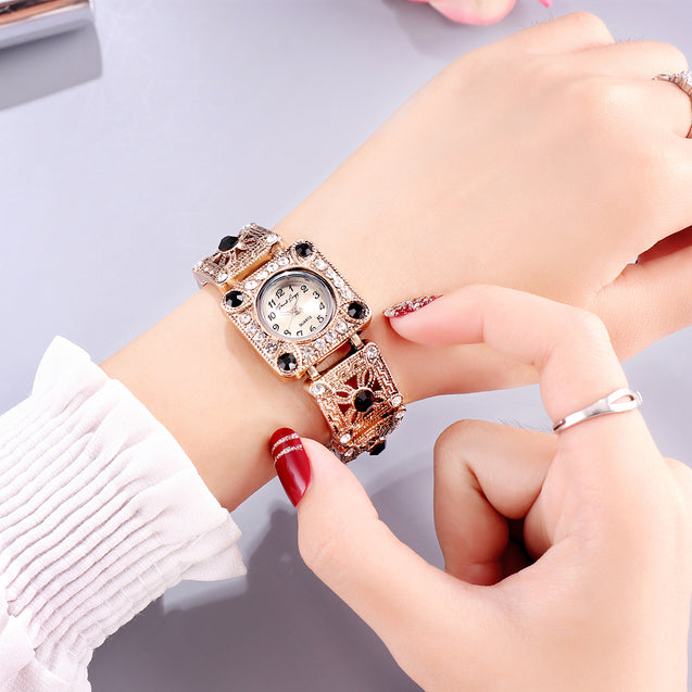 French Loops Royal Grandeur Jewel Studded Ethnic Party Wear Bracelet Watch