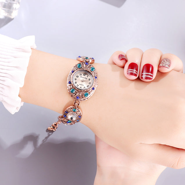 French Loops Nizam's Pride Blue Jewel Studded Ethnic Party Wear Bracelet Watch