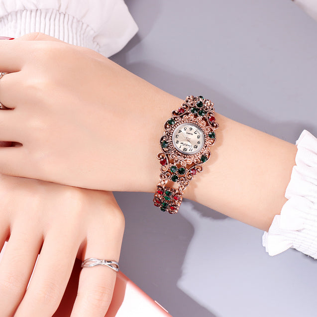 French Loops Royal Colors Jewel Studded Ethnic Party Wear Bracelet Watch