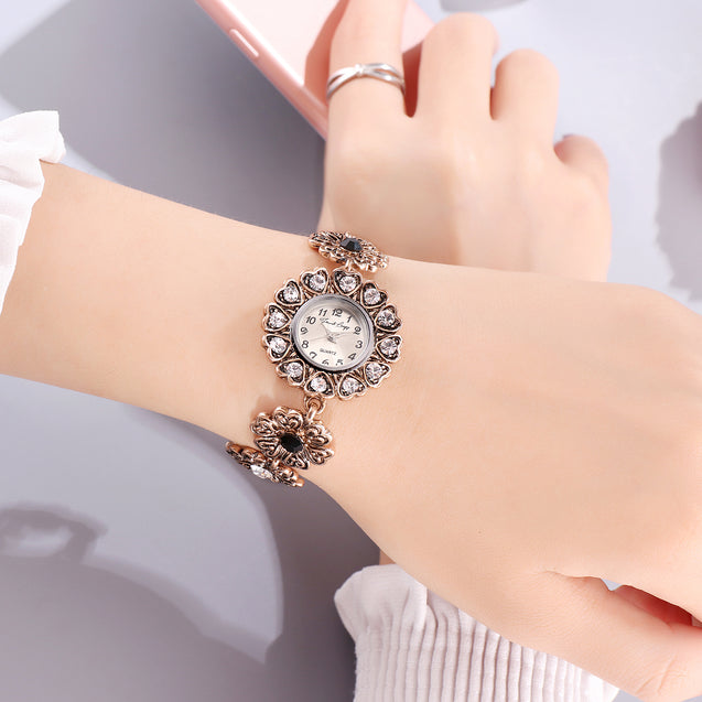 French Loops Hearty Flowers Jewel Studded Ethnic Party Wear Bracelet Watch