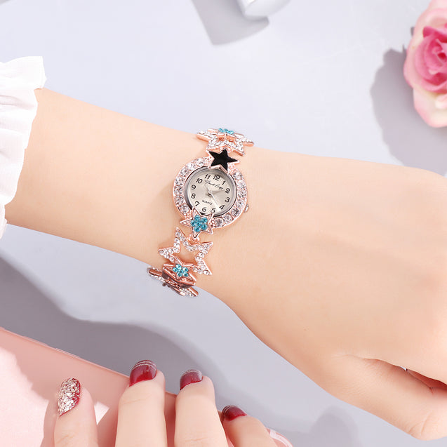 French Loops Star Of The Night Multi Color Jewel Studded Party Wear Bracelet Watch