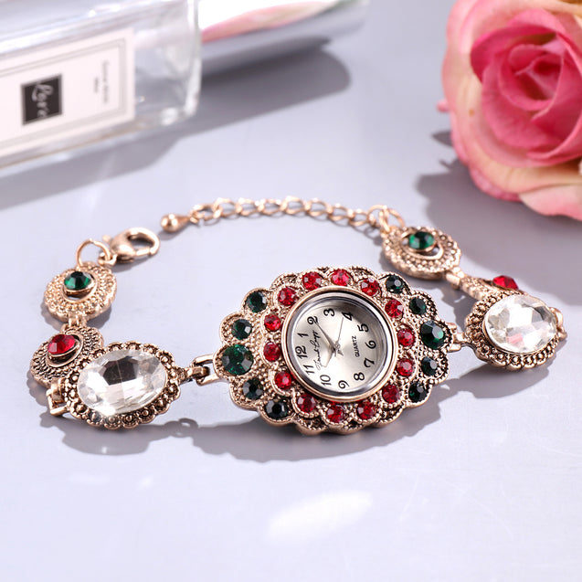 French Loops Maharani's Jewels Multi Color Jewel Studded Ethnic Party Wear Bracelet Watch