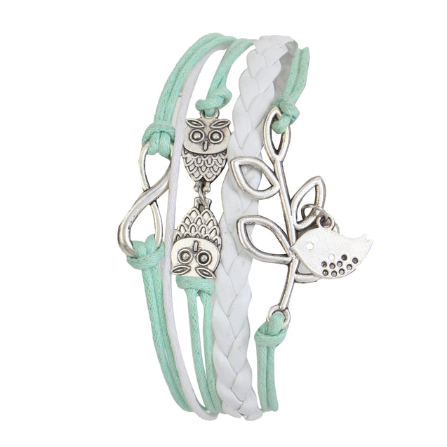Addic Owl, Bird & Leaves Lucky Charm Bracelet for Women! (Fashion Bracelet)