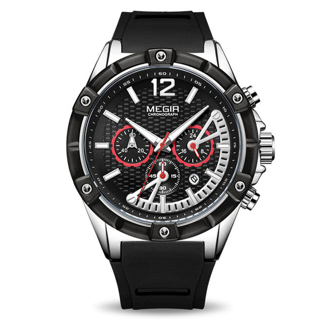 Megir Tough Time Black Chronograph Luxury Sports Watch for Men's & Boys with Free Addic Watch (MN2083GS-BE)