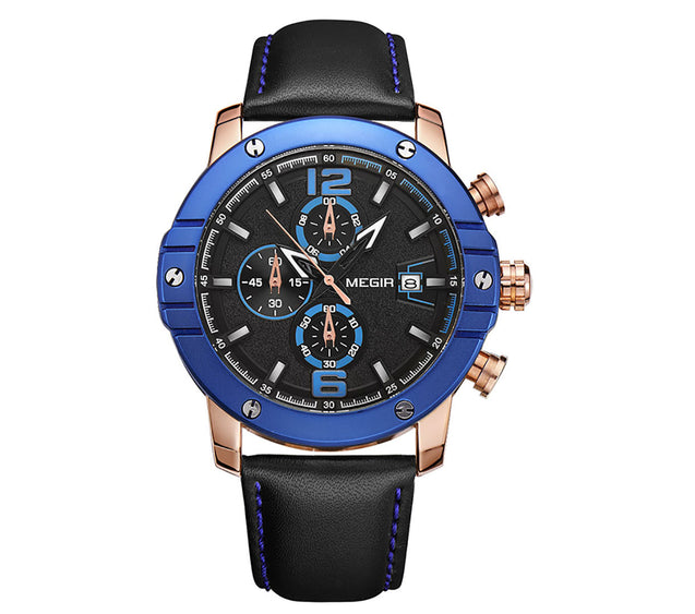 Megir Blue Blood Luxury Chronograph Men's Watch(2046G)