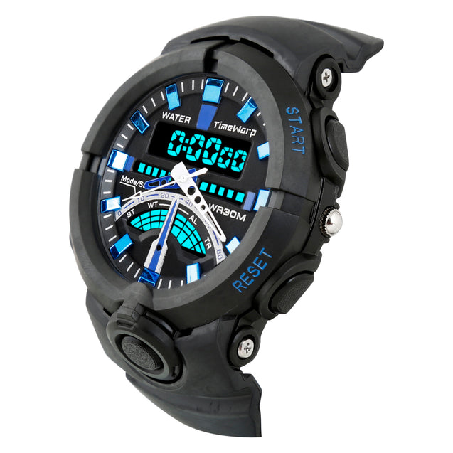 Time Warp Techno Blue Numbers Multi Function Analog & Digital Wrist Watch For Boys & Men
