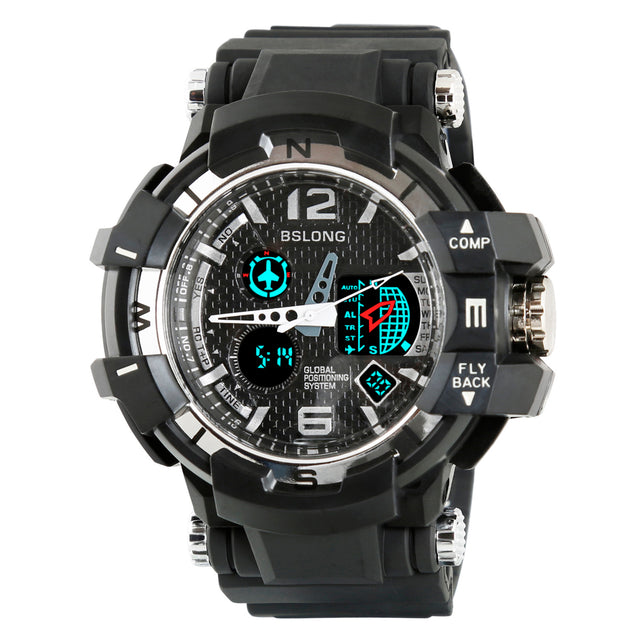 Time Warp Silver Gray Multi Function Analog Digital Multi Function Wrist Watch For Men & Boys