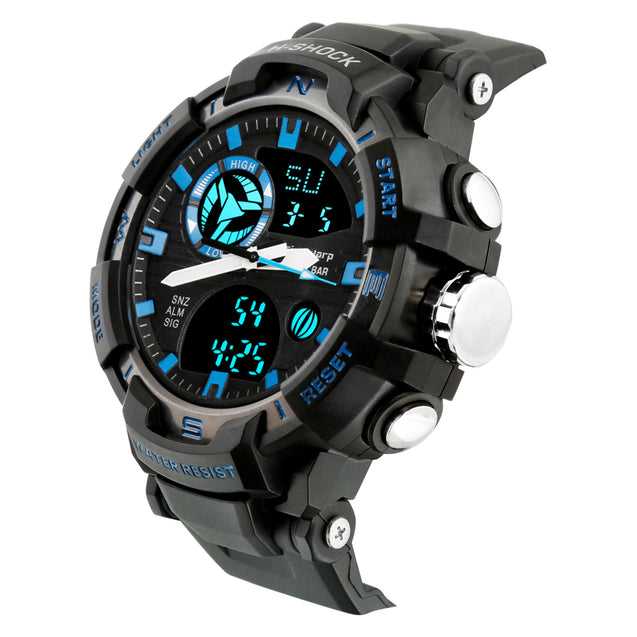 Time Warp Mob Fighter Blue Highlight Day Date Analog Digital Multi Function Wrist Watch For Men & Boys