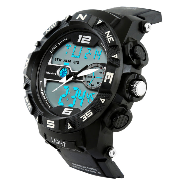 Time Warp Commander Minimal Day Date Analog Digital Multi Function Wrist Watch For Men & Boys