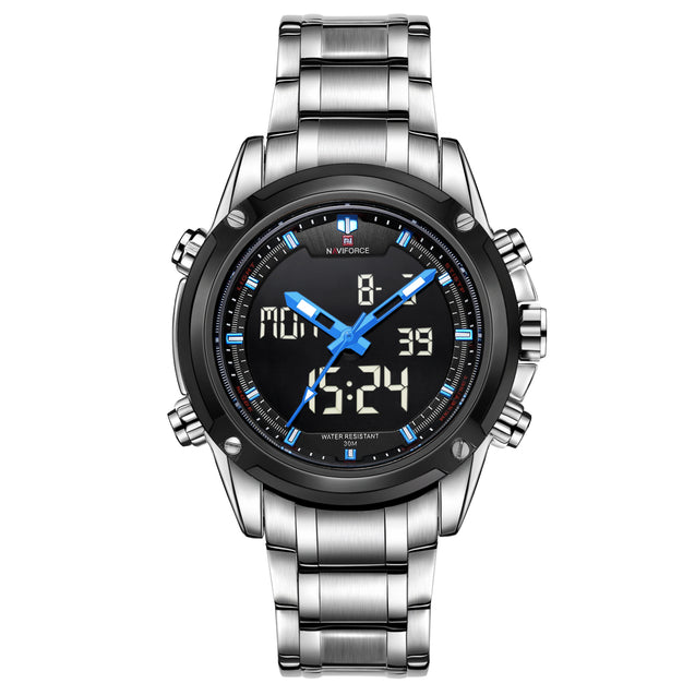 Naviforce Shadow Screen Silver Chain Blue Highlight Analog & Digital Wrist Watch For Men & Boys