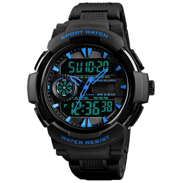 Digilog Black & Blue Bonds Multi Function Dual Time Analog-Digital Wrist Watch For Men & Boys